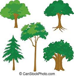 arbre, vecteur, vert, dessin animé, nature