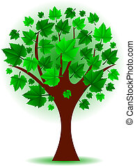 arbre, vecteur, vert, illustration