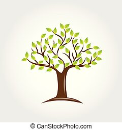 arbre, vecteur, vert, pousse feuilles, logo, icône