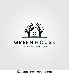 arbre, vert, nature, maison, logo, vecteur, conception, illustration, symbole