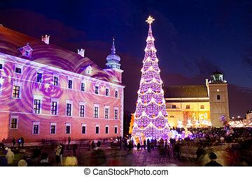 arbre ville, vieux, noël, varsovie
