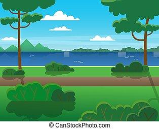 arbres, été, travers, forêt, river., montagnes, rivière, extérieur, recreation., paysage