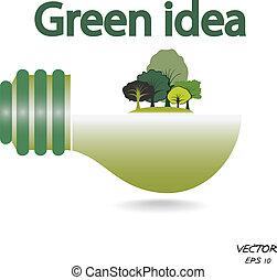 arbres, ampoule, feu vert, idée, fond, blanc
