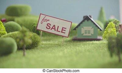 arbres, champ, signe., maison jouet, vente