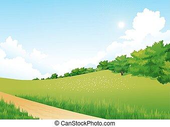 arbres, fleurs, paysage, vert, nuages