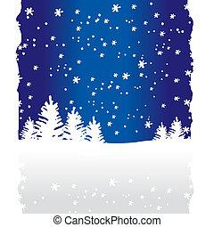 arbres, fond, (vector), hiver