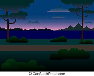 arbres, forêt, river., montagnes, rivière, nuit, travers, paysage