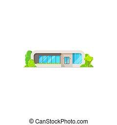 arbres, maison, cheminée, moderne, confortable, isolé
