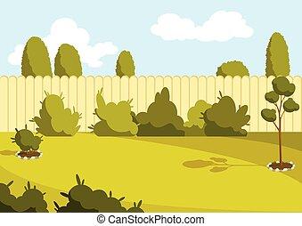 arbres., pelouse, ou, extérieur, barrière, banlieue, vert, vecteur, arrière-cour, yard, dessin animé, cour, fond, dos, secteur, patio, grass., ensoleillé, maison, illustration, area.