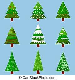 arbres., set., noël, year., nouveau, ton, design.