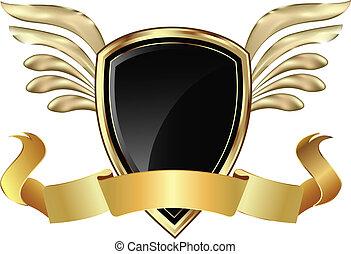 arc, bouclier, ailes or