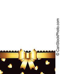 arc, carte don, doré
