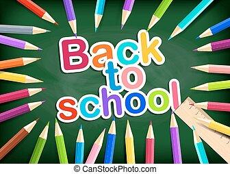 arc-en-ciel, école, crayons, eps10., blackboard., dos, arrière-plan., vecteur, vert