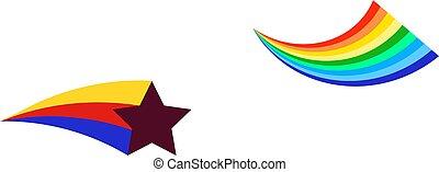 arc-en-ciel, étoile, coloré, vecteur, icône, icône