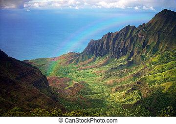 arc-en-ciel, aérien, fron, littoral, kauai, vue