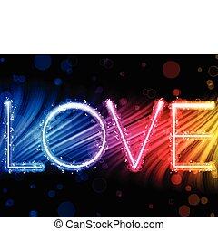 arc-en-ciel, amour, coloré, résumé, -, valentin, vecteur, fond, vagues, mot, jour
