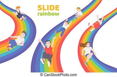 arc-en-ciel, bas, enfants, diapo, glissement, heureux, ensemble