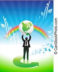 arc-en-ciel, business, conservation environnementale, fond, homme
