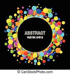 arc-en-ciel, clair, vecteur, coloré, cadre, isolé, arrière-plan., couleurs, anniversaire, noir, gabarit, papiers, confetti, conception, cercle, vacances, rond, element.