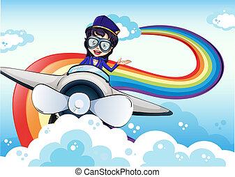 arc-en-ciel, conduite, ciel, avion, femme, pilote