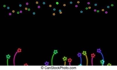 arc-en-ciel, couleur, étoiles chute, fané, étoile, coloré, grandir, aléatoire, fleurs