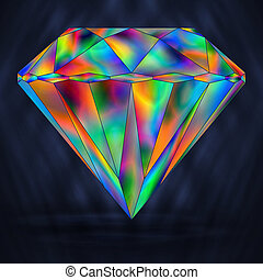 arc-en-ciel, cristal, clair, iridescent, icon., gemstone.