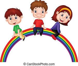 arc-en-ciel, enfants, dessin animé, séance
