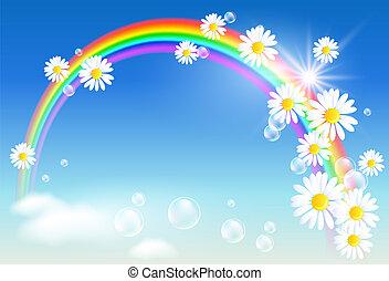 arc-en-ciel, fleurs