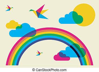 arc-en-ciel, fredonner, oiseaux, coloré