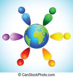 arc-en-ciel, globe, gens, coloré, autour de