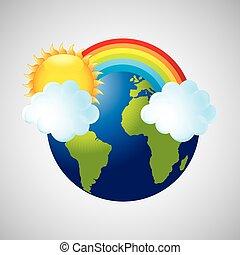 arc-en-ciel, globe, météorologie, temps, la terre, nuage