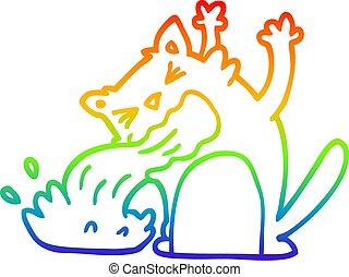 arc-en-ciel, gradient, chat, etre malade, dessin ligne, dessin animé