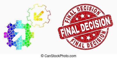 arc-en-ciel grunge, coloré, pointillé, timbre, décision, intégration, vecteur, engrenages, cachet, final, icône