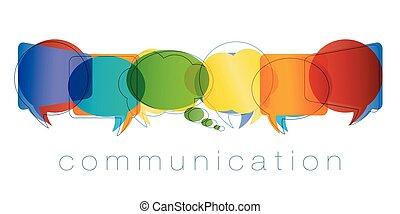 arc-en-ciel, marketing., réseau, contacts, amis, concept., communication., isolé, chatting., community., couleurs, vecteur, parole, communication ligne, texte, bulle