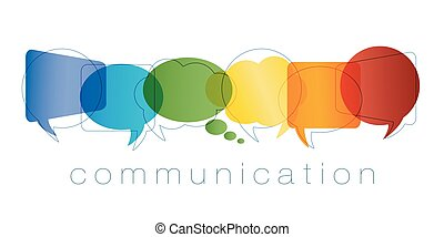 arc-en-ciel, marketing., réseau, contacts, amis, concept., communication, isolé, chatting., community., vecteur, texte, colors., ligne, bulle discours, communication.