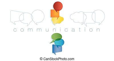 arc-en-ciel, marketing., réseau, contacts, amis, concept., communication., isolé, chatting., community., vecteur, parole, colors., communication ligne, texte, bulle