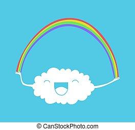 arc-en-ciel, nuage, illustration