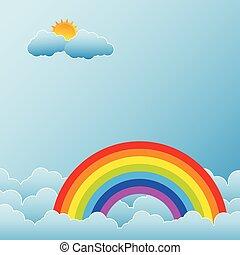 arc-en-ciel, nuages, soleil