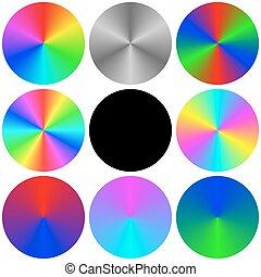 arc-en-ciel, palette, ensemble, gradient, couleur, cercle