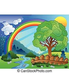 arc-en-ciel, paysage arbre