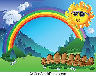 arc-en-ciel, paysage, soleil