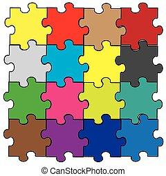 arc-en-ciel, puzzle, montage, morceaux