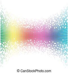 arc-en-ciel, résumé, concave, space., vecteur, gabarit, blanc, copie, mosaïque