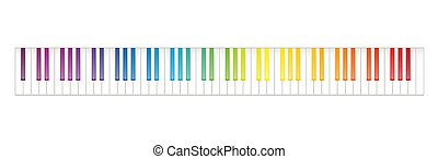 arc-en-ciel, sept, octaves, coloré, clavier, piano