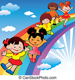 arc-en-ciel, slide., enfants