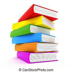 arc-en-ciel, sur, livres, blanc