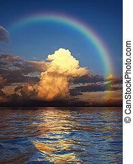 arc-en-ciel, sur, océan