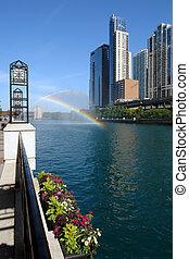 arc-en-ciel, sur, rivière, chicago