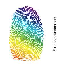 arc-en-ciel, thumbprint., fierté, illustration, empreinte doigt