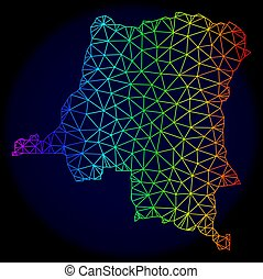 arc-en-ciel, vecteur, carcasse, polygonal, carte, maille, république, congo, démocratique